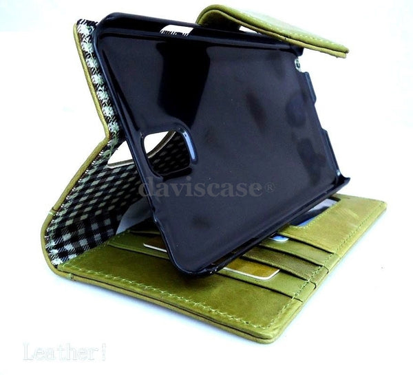 genuine natural leather Case For Samsung Galaxy Note 3 book wallet handmade apple green