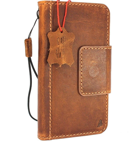 Genuine vintage leather Case for Samsung Galaxy S9 Plus book wallet magnetic closure cover cards slots Tan strap daviscase