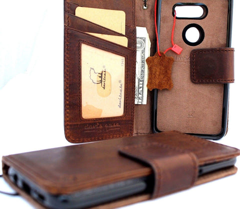 Genuine vintage leather Case for LG V30 book detachable wallet magnetic Removable cover slim brown cards slots handmade daviscase