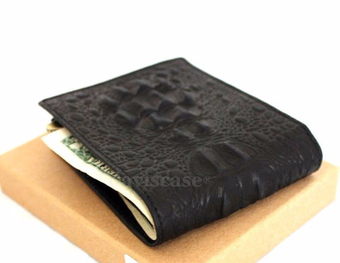 Men Money Clip Genuine Leather wallet Pocket Purse crocodile Card Billfold slim it  black