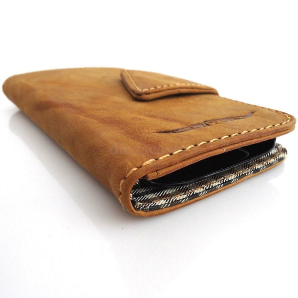 genuine real natural leather Case FOR Galaxy 3S s 3 book wallet retro magnet clos