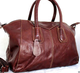 Genuine vintage real leather bag for woman classic design wine color soft tote Handbag lady