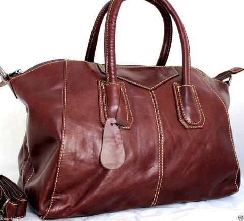 ce2149f16419 Genuine vintage real leather bag for woman classic design wine color soft tote  Handbag lady