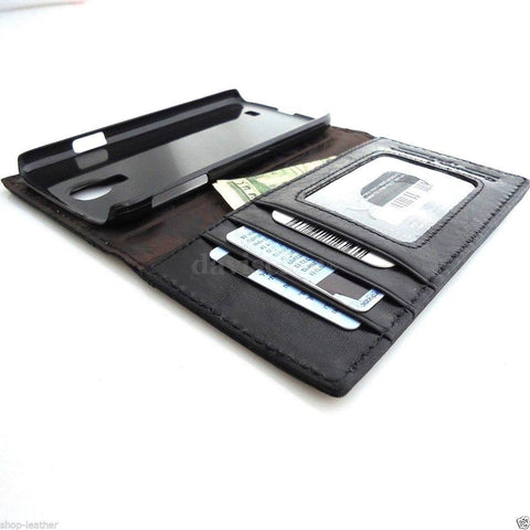 genuine leather Case fit Samsung Galaxy S4 SIII book wallet handmade 60s black G