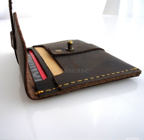 Genuine full Leather man mini small wallet Money id credit cards holder pocket Ta