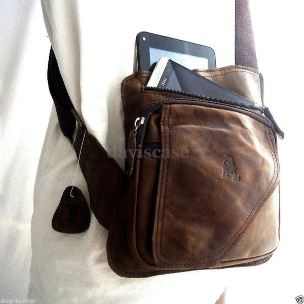 REAL Leather Bag Messenger iPad LAPTOP Genuine Brown 2 vintage dark classic new