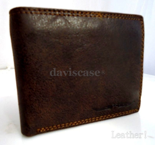 Men Money Genuine Leather wallet Billfold slim Design retro CASE Money Clip cards