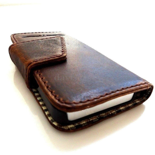 genuine vintage leather Case Fit Samsung Galaxy Note II 2 book wallet handmade G