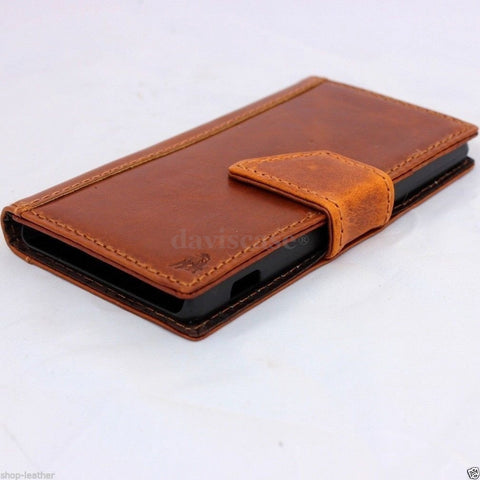 genuine real 100% good leather Case Fit sony Xperia Z2 book wallet  handmade ta