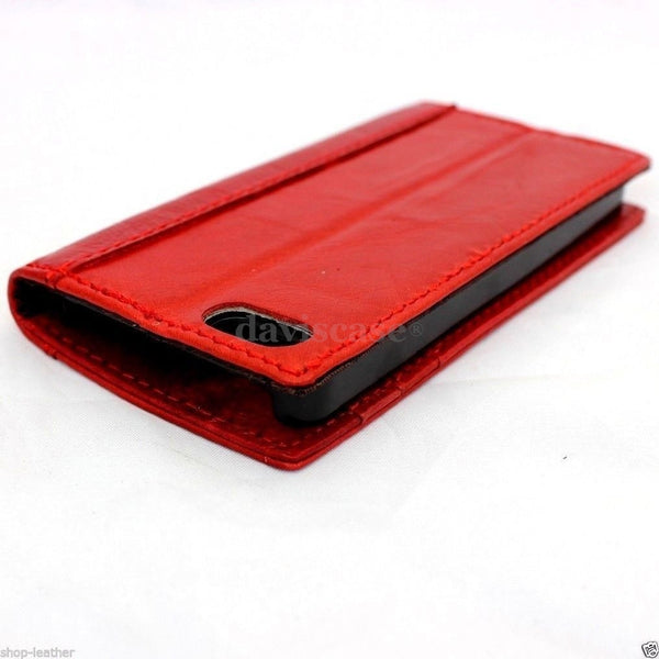 genuine real leather case for iphone 5 5scover book wallet stand holder red RETRO