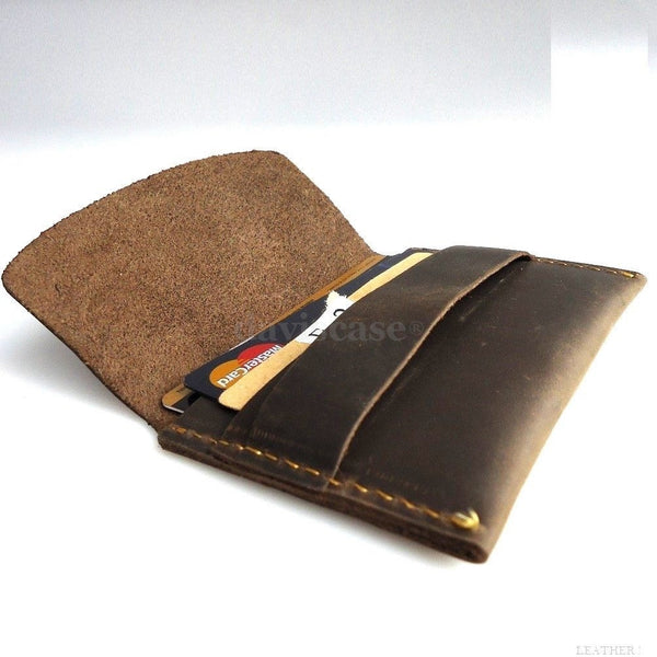 Genuine full Leather man mini wallet Money credit cards holder pocket Minimal aa