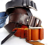 Genuine full Leather belt 43mm mens womens Waist handmade classic 60' s b size S