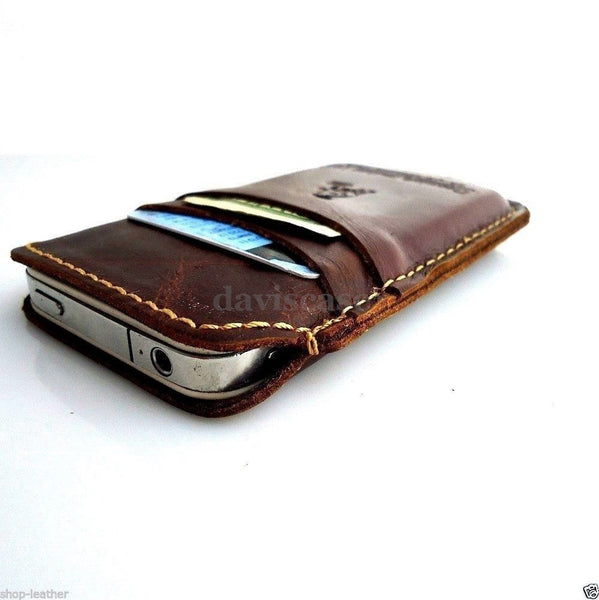 genuine leather case  for iphone 4 4s cover cover pouch slim s 4 cards  new