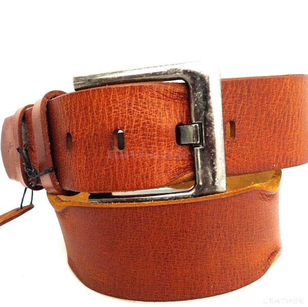 Genuine buffalo Leather belt 43mm men womens Waist handmade classic size M retro