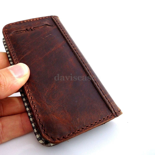 genuine vintage oil leather case for iphone 4s cover purse s 4 stand book wallet BROWN