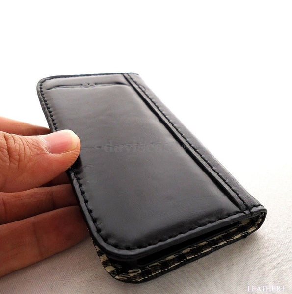 genuine leather case fit iphone 4s purse s 4 book wallet handmade ID 3G 3 black