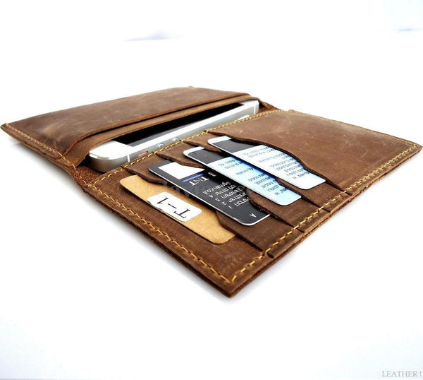 genuine leather case FIT iphone 5 5s 5c c book wallet cover handmade cards slim
