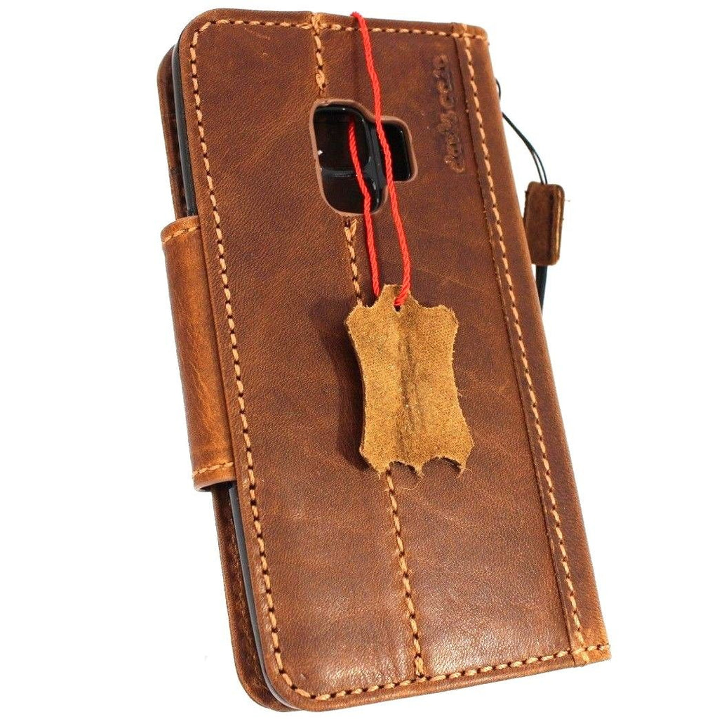 super popular 3f62b e4ef0 Genuine vintage leather Case for Samsung Galaxy S9 Plus book wallet  magnetic closure cover cards slots Tan strap daviscase