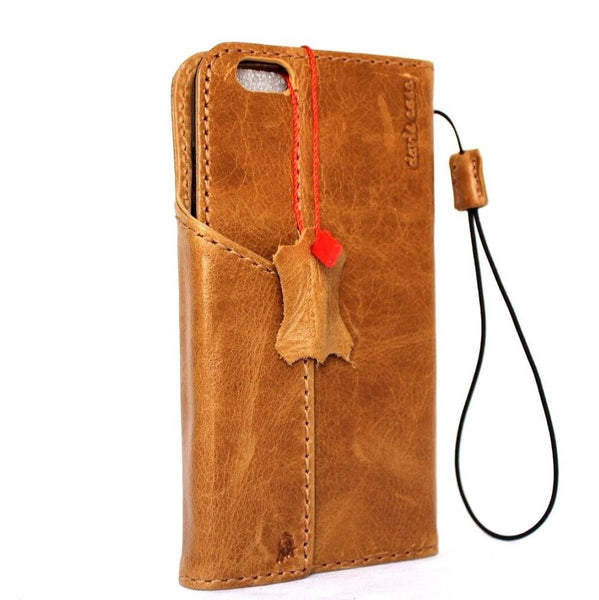 Genuine vintage natural leather iPhone 6 6s safe case cover with wallet credit holder