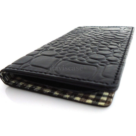 genuine real natural leather Case fit Galaxy S3 SIII s 3 book wallet crocodile black hand