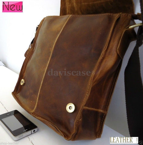 best top Leather Bag Messenger iPad vintage Genuine laptop classic handbag 10 11