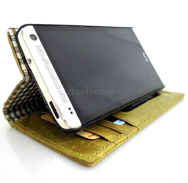 genuine real leather Case for HTC Butterfly S book wallet handmade apple green G