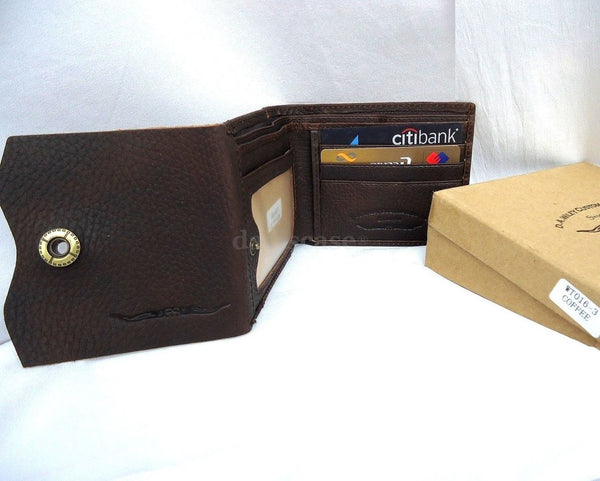 Genuine leather Men LEATHER WALLET Purse Coin purse id slot Pocket skin jeans id