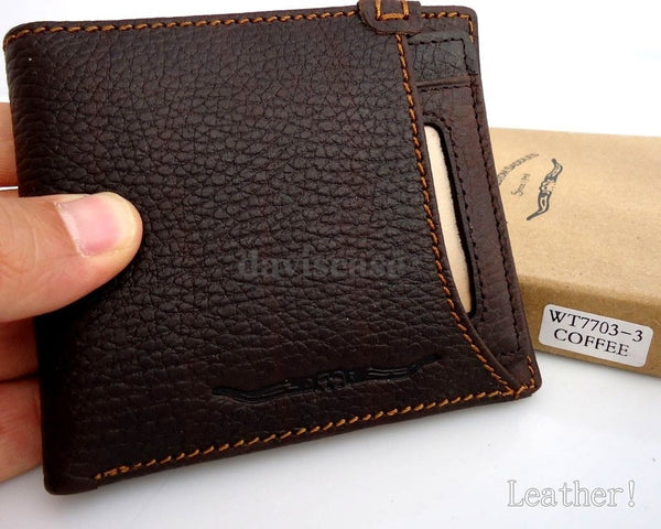 Men Money Clip Genuine full Leather wallet Coin Pocket Purse credit handmade box