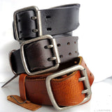 Genuine vintage Leather belt 43 mm Waist handmade classic retro size L retro 60s