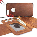 Genuine Leather Case for iPhone 7 Plus book wallet cover Cards slots Slim vintage Removable detachableb brown Daviscase