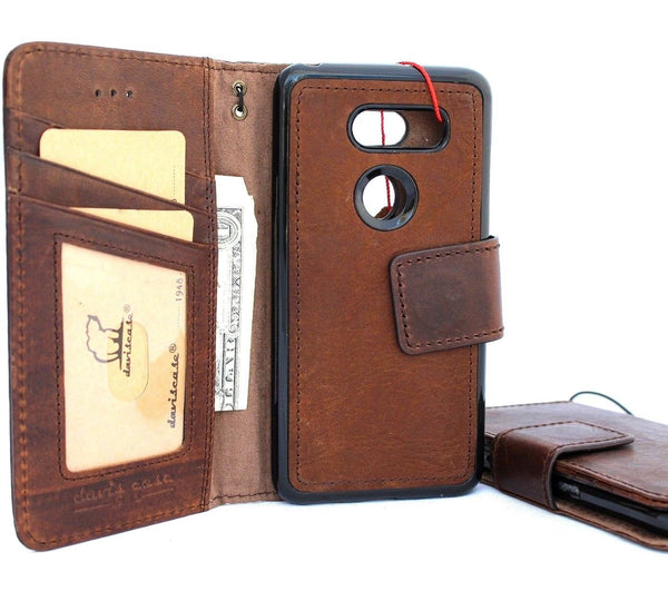 Genuine retro leather Case for LG V30 book detachable Removable wallet magnetic cover slim brown cards slots natural jafo 48