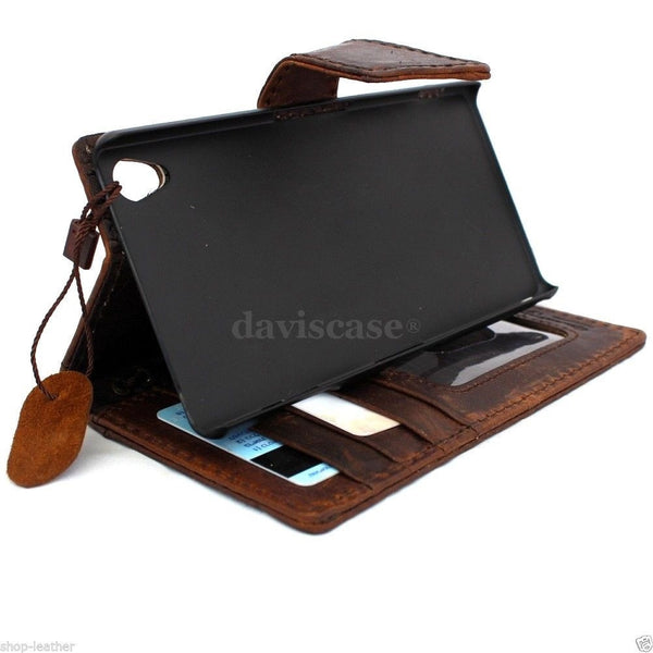 genuine vintage leather Case for sony Xperia Z2 cover luxury wallet slim flip