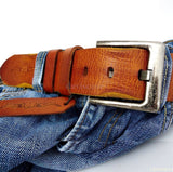 Genuine buffalo Leather belt 43mm men womens Waist handmade classic size L retro