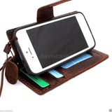 genuine real leather case for iphone 5 c cover book wallet creditcard 5c id new
