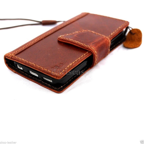 genuine oiled leather hard case for iphone 5s 5c 5 cover book wallet credit card c s flip handmade luxury ! gift