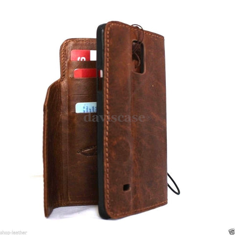 genuine oiled leather hard case for Galaxy NOTE 4 LEATHER CASE  handmade cover book pro wallet stand premium
