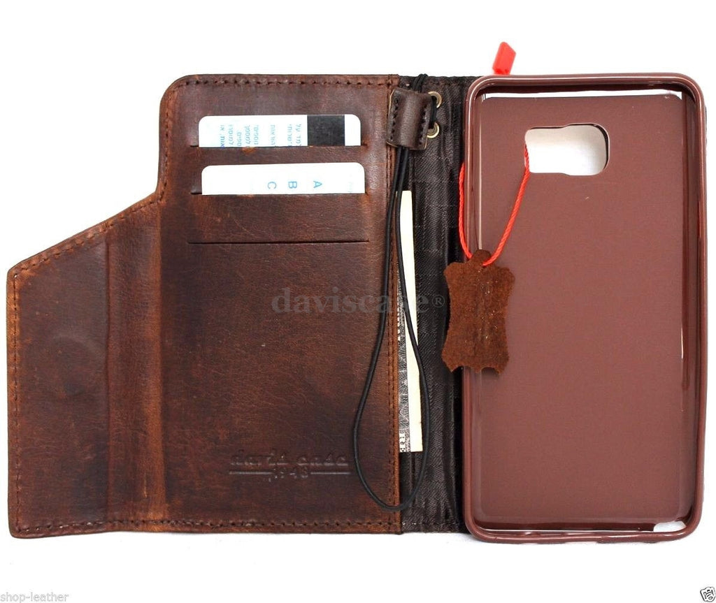 finest selection df17a f71ca genuine natural leather Case for Samsung Galaxy note 5 book wallet luxury  magnet cover brown 5 slim daviscase
