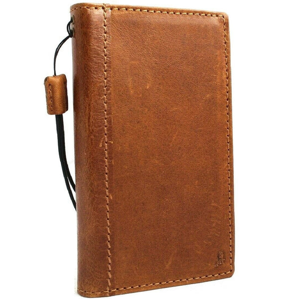 Genuine leather Case for Samsung Galaxy S10 book wallet cover Cards wireless charging Tan luxuey pro slim daviscase
