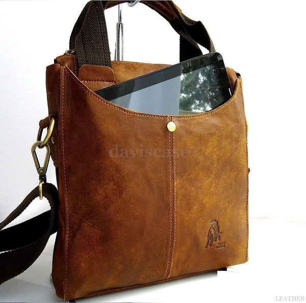 Genuine real Leather laptop Bag Messenger man handbag brown vintage 15 Student 4