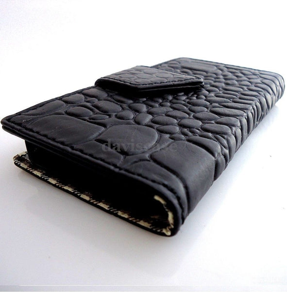 genuine vintage leather case for iphone 5 5s book wallet cover new handmade crocodile Model black
