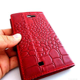 genuine real leather Case Fit Samsung Galaxy Note II 2 book stand wallet handmade crocodile Model