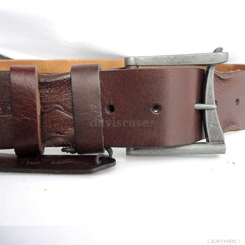 Genuine vintage Leather belt 43 mm Waist handmade classic retro size L retro 70s