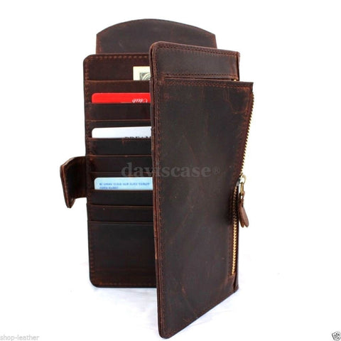 genuine leather Case for apple iphone 6 plus + galaxy note 4 lg g3 note 3 soly z3 book wallet cover