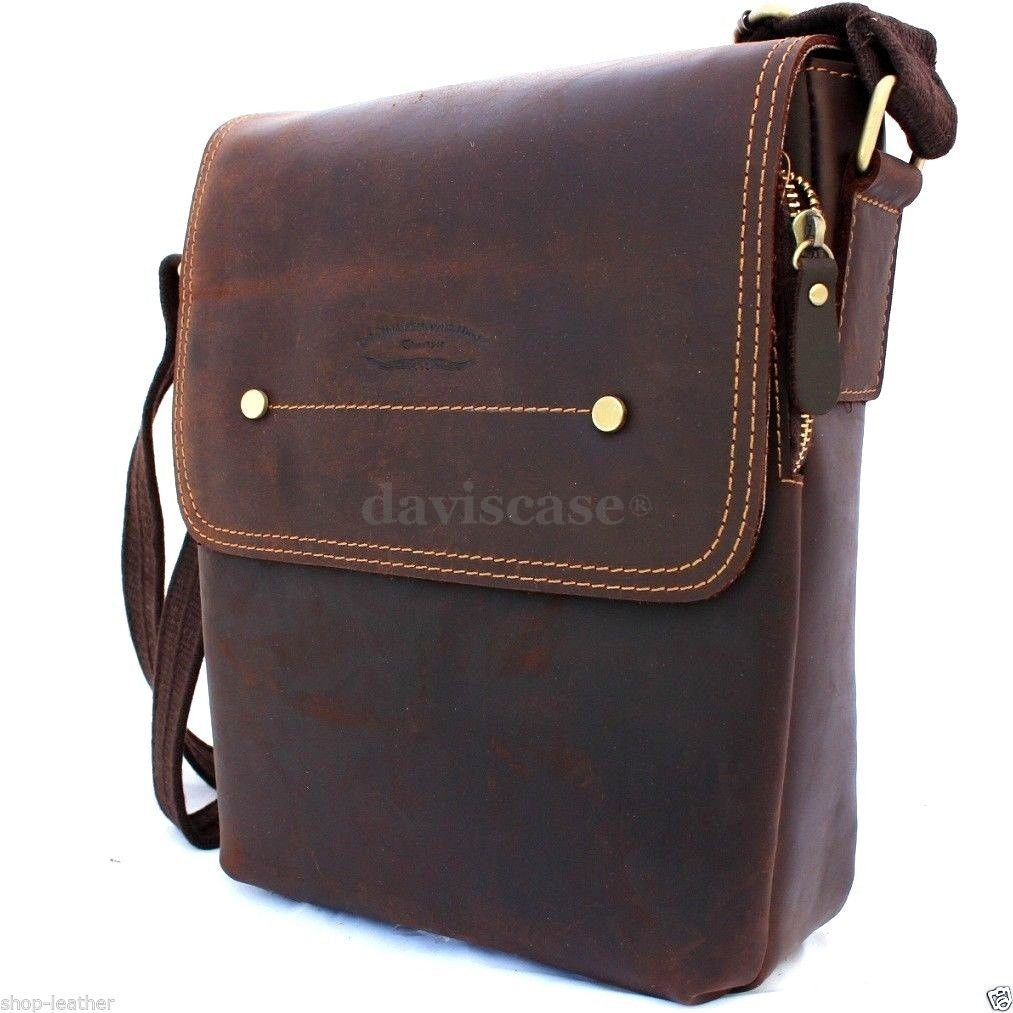 87da3c0204 ... genuine Vintage Leather mens Bag Messenger for iPad air Shoulder Satchel  School free shipping ...