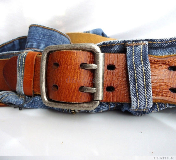 Genuine vintage Leather belt 43mm mens womens Waist handmade classic for jeans size M free shipping !