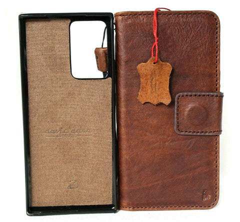 Genuine Leather Case For Samsung Galaxy Note 20 Ultra Book Removable Wallet Magnetic closure Cover cards slots detachable Holder Vintage note20 Top Grain