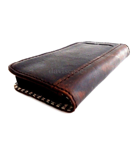 genuine vintage leather case for iphone 4s cover purse s 4 stand book wallet BROWN handmade uk