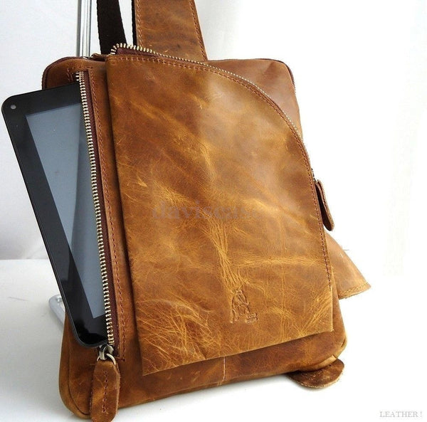 genuine vintage Leather Bag Messenger for iPad Brown 2 classic 3 retro 1