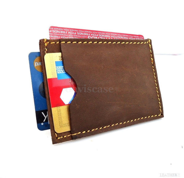 Genuine Leather man mini wallet Money id credit cards holder Compact pocket skin ta