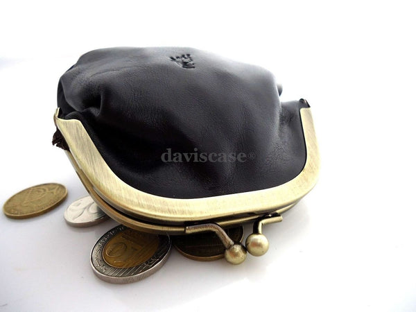 Genuine Soft leather woman mini Coins purse bag Ladies wallet case Miniature bl